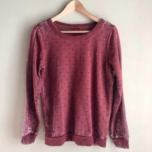 Chaser Red Burnout Polka Dot Sweatshirt Top XS
